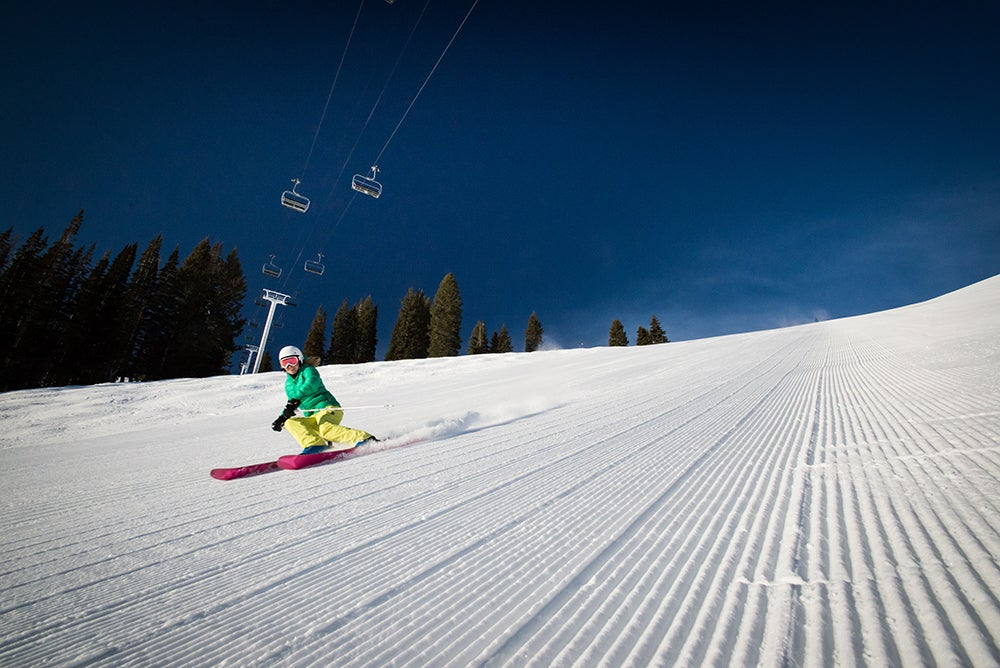 Skiing on groomers at Solitude
