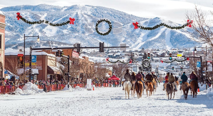 Horses on Main street in Steamboat, CO