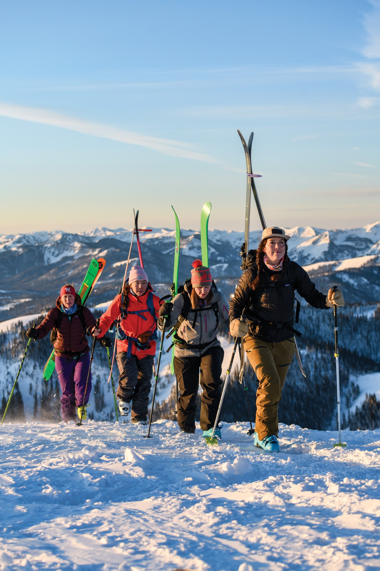 Crystal Wright and the Jackson Hole Babeforce on a bootpack