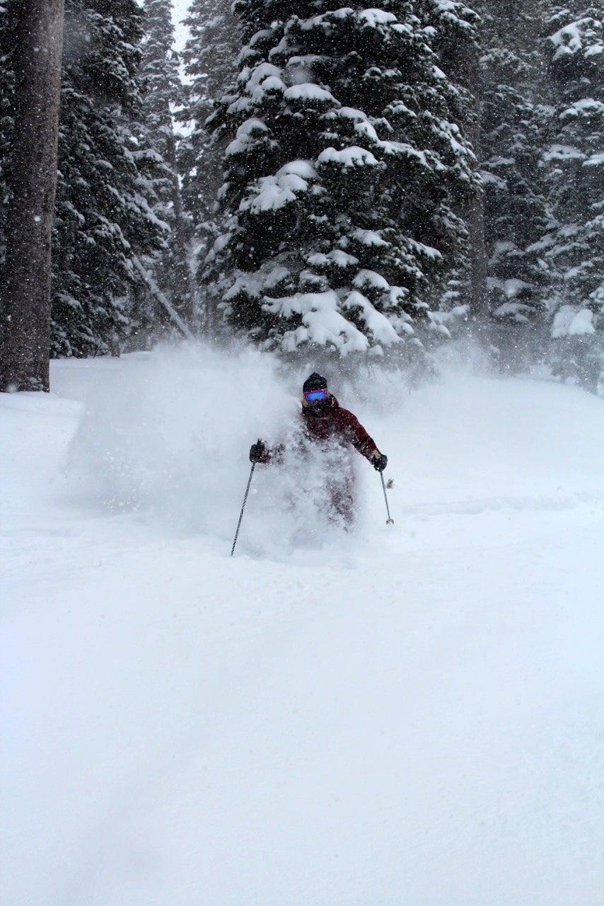 Skiers in powder at Pomerelle Mountain Resort