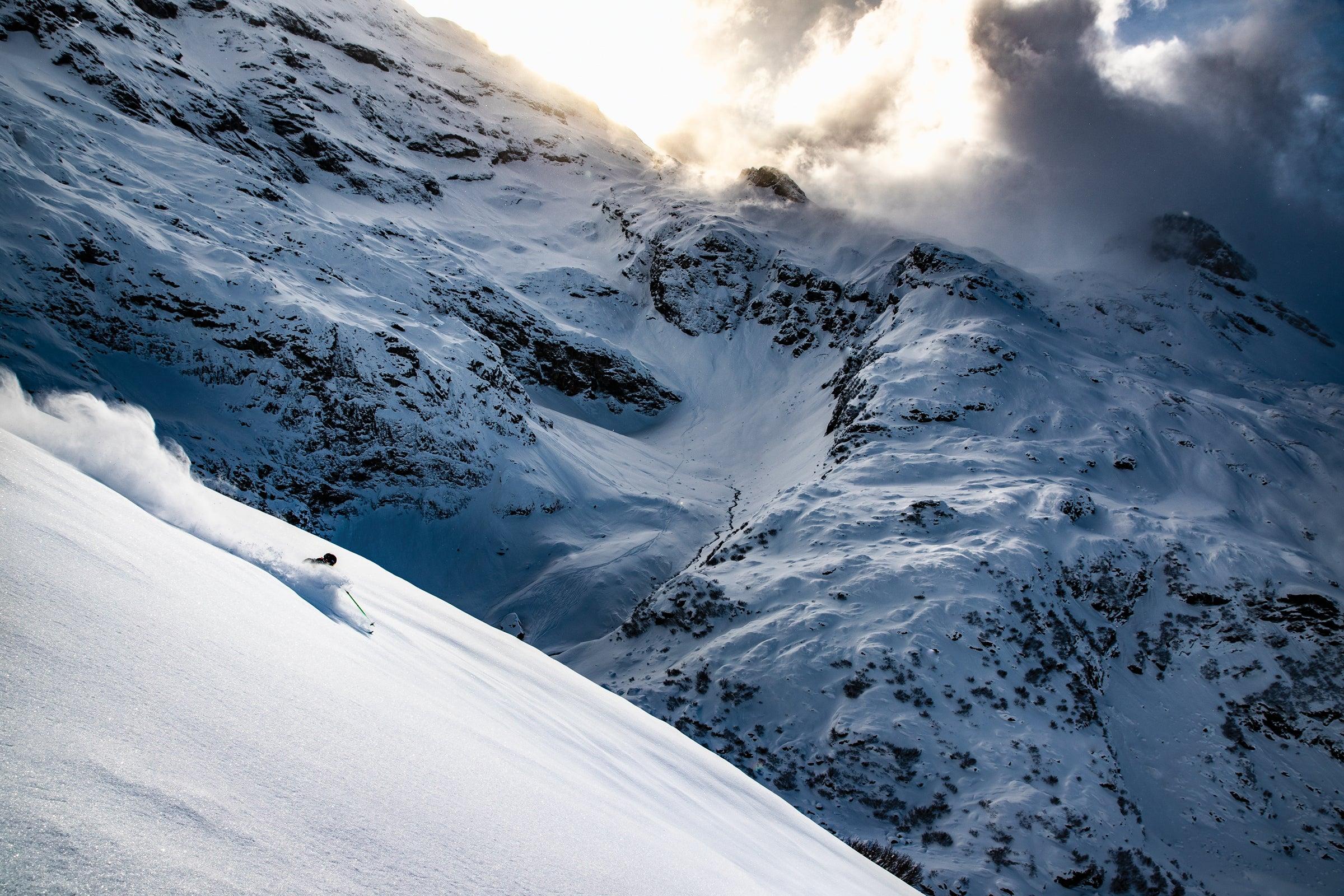 the nearly empty slopes of Engelberg, Switzerland