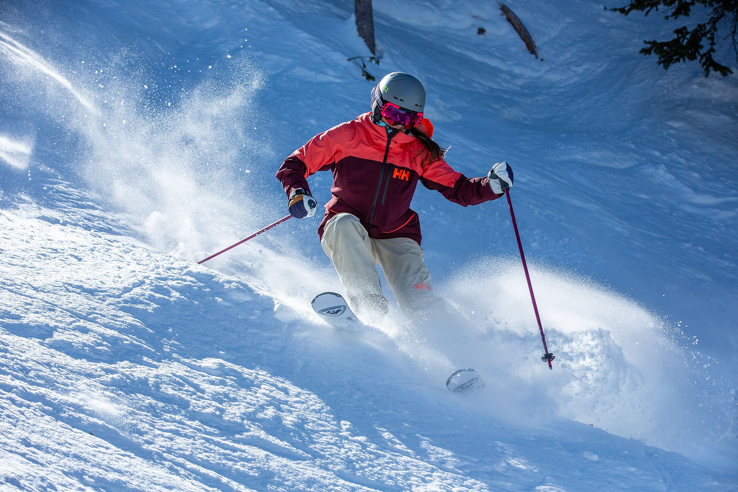 Skier on steep, technical terrain